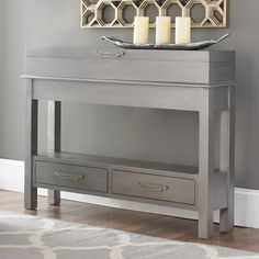 """Sleek Narrow Storage Console With two drawers and a flip top, this gorgeous petite console is a beautiful addition to any home or hallway. Birchwood with deco fretwork handles and a metallic pewter finish, this space saver boasts a distinctive look. (34.5""""Hx46""""Wx9.25""""D) Lid opens to 90 degree angle. Measurement inside top is: 45""""Lx8""""Wx5.5""""D. Drawer measurement is: 7""""Wx18""""Lx3""""D."""