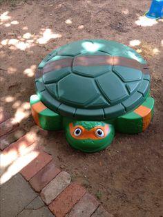 DIY Ninja Turtle Sandbox. Updated a turtle sandbox with mask and belt to turn into a Ninja Turtle.