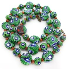Vintage Art Deco Matched Millefiori Green Disc Glass Bead Necklace | Clarice Jewellery | Vintage Costume Jewellery