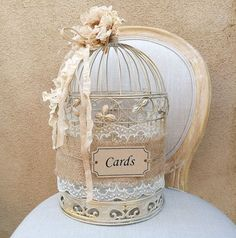 Birdcage Card Holder, Shabby Chic Birdcage, Wedding Gift Box, Rustic Card…