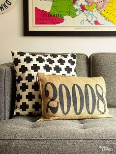 Change a burlap pillow into a cool conversation piece. Draw you ZIP code or any number onto a plain pillow with marker.