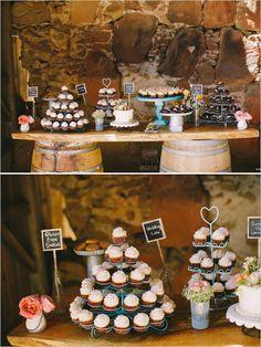 rustic dessert table ideas - cupcakes
