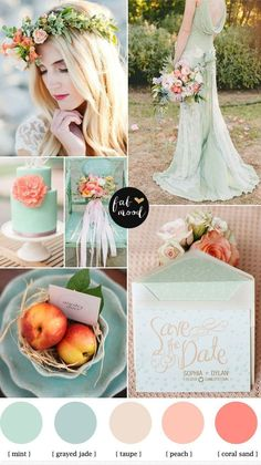 Minty peach and a hint of coral wedding Mint peach and hint of coral wedding wedding colours palette in peach and mint // Hochzeitsfarben Palette in mintgrün und apricot Candy Kü - Wedding Colors Peach Wedding Theme, Coral Wedding Colors, Wedding Mint Green, Spring Wedding Colors, Sage Wedding, Wedding Color Schemes, Wedding Flowers, Wedding Stage, Wedding Mandap