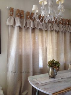 Natural Linen and Burlap curtains with by RusticChicTogether Mexican Kitchen Decor, Copper Kitchen Decor, Kitchen Decor Themes, Vintage Kitchen Decor, Farmhouse Kitchen Decor, Home Curtains, Burlap Curtains, Design Seeds, Curtain Designs