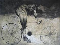 "Artist: Goce Trajkovski; Etching 2011 Printmaking ""Bicyclist"""