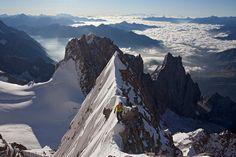 The knife edge ridge on the Innominata, Mont Blanc