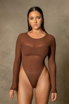 Shop the Blaire Mesh Long Sleeve Bodysuit - Chocolate at MESHKI. Browse the full range of Bodysuits at MESHKI, with free shipping on all AU orders $50+ and express intl shipping. Long Sleeve Bodysuit, Mesh Long Sleeve, Mesh Material, Staple Pieces, High Waisted Skirt, Crew Neck, Mini Skirts, Bodysuits
