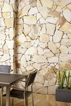 Stone veneers or stone tiles give you the look of high-end masonry work. Stone veneer over the wall creates more unique look with variation of design and color. Stone veneer wall is quite interesting as additional feature at your home. Masonry Work, Stone Masonry, Stone Veneer, Stone Feature Wall, Sandstone Wall, Stone Interior, Dry Stone, Stone Cladding, Up House