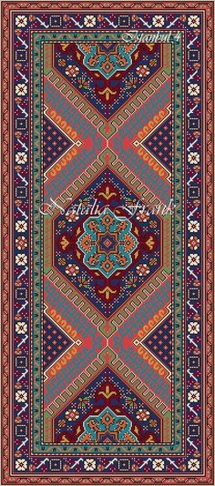 """Today I would like to show you my new dollhouse miniature area rug needlepoint patterns. I called this rug """"Istanbul"""" and there are 3 patte..."""