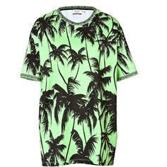 Fausto Puglisi Cotton Palm Print T-Shirt ($79) ❤ liked on Polyvore featuring tops, t-shirts, shirts, dresses, tees, green, mini t shirts, cotton t shirt, green top and oversized t shirts
