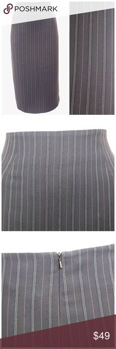 Yansi Fugel Pin Stripe Pencil Skirt ‼️ PRICE FIRM UNLESS BUNDLED WITH OTHER ITEMS FROM MY CLOSET ‼️   Yansi Fugel Black Pinstripe Skirt  Size 8  Retail $225   Yansi Fugel is an upscale designer sold mainly in high end boutiques & department stores throughout the world.  Great versatile lightweight skirt. The color is called ink, I can't tell if it is a super dark navy or black. I have put it against black and it looks black. The pin stripping is shades of lighter blue and tans. Zips down the…