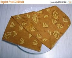 SPRING SALE Cloth Napkins Sea Shells on Caramel by MakeMeOver