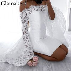 Off shoulder lace women dress robe Flare sleeve bodycon summer dress Evening party elegant dress vestido de festa Off Shoulder Flare Sleeve Lace Bodycon Dress Size S / cm M / cm L / cm XL / cm US 12 14 UK 8 10 12 14 AU 8 10 12 14 EU [. Elegant Party Dresses, Casual Dresses, Lace Dresses, Dress Lace, Dress Outfits, Short Dresses, Wedding Dresses, Off Shoulder Lace Dress, Shoulder Sleeve