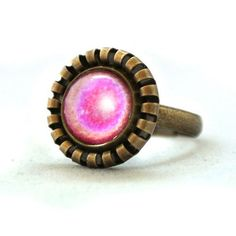 Ring Pink Shine Flower Planet Vintage Button Cute Design Copper Circle Shape