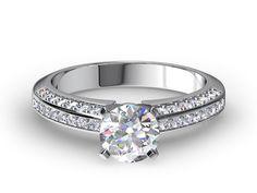 Three-Row Pave-Set Diamond Engagement Ring