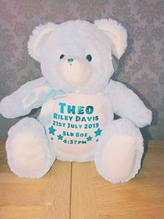 Personalised Zippie Bears. ~ Adorable keepsake toys to be loved and cherished ~ Measures 40cm approx All have zips on bottom back for easy washing and to keep pyjamas in( see our page for our personalised pyjamas). Create the perfect keepsake for a new baby, or spoil someone special! Personalized Pajamas, Personalised Teddy Bears, Baby Birth, 1st Birthdays, New Baby Gifts, Pyjamas, New Baby Products, Color Schemes, Colours