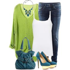 Switch out those heels for some wedges & I'm in love  Neon Green Pullover