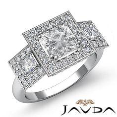Princess Diamond Three 3 Stone Engagement Ring GIA F VS2 14k White Gold 3 15 Ct | eBay