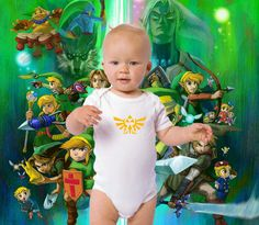 Zelda Triforce nintendo nes ps3 xbox video game embroidery Zelda baby clothes geek baby shower video game baby