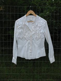 70s ruffle blouse size Sm-Med white button by TwinCreekCottage