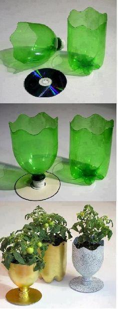 Cut the bottle as shown and attach a spare CD or something circular disc type to its base. Then paint it and use it as flower pots
