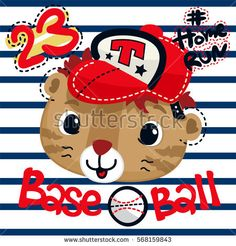 Cute tiger face cartoon wearing baseball cap on striped background illustration vector.