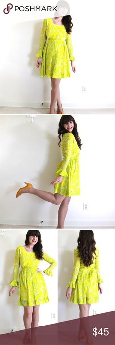 """60s Mod Yellow Dress Reposh! Bought this adorable vintage dress but it was small on me. Someone needs to be enjoying this! Yellow cotton voile, metal zipper & hook and eye closure. Lined bodice. Bust 36"""" waist 26"""" length 36"""". Make me an offer!! Vintage Dresses"""