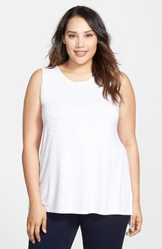 Plus Size Women's Vince Camuto Embellished Sleeveless Top
