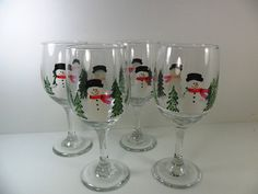 RESERVED FOR PAULBACHMAN Snowman Wine Glasses by PaintingByElaine