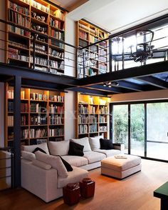 Home Interior Design — modern contemporary living room with mezzanine (. Modern Contemporary Living Room, Contemporary Interior Design, Home Interior Design, Interior Architecture, Interior Ideas, Luxury Interior, Contemporary Apartment, Rustic Contemporary, Contemporary Stairs