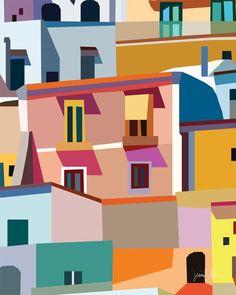 "Positano printable wall art Colorful prints Amalfi Coast USE THE CODE ""HUNKYDORY"" TO RECEIVE 30% OFF!"