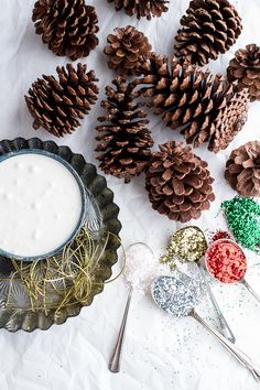 Making Snowy, Sparkly Pine Cone Ornaments Festive Crafts, Holiday Crafts, Pinecone Ornaments, Christmas Ornaments, Christmas Holiday, Half Baked Harvest, All Craft, Diy Home Crafts, How To Make Ornaments