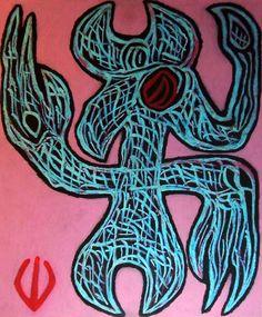 """Demone occulto"" 2016 Tecnica mista su cartone 58x48  ©Pietro Gargano"