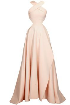 Gauri and Nainika Peach flared pleated X halter cutout gown available only at Pernia's Pop Up Shop.