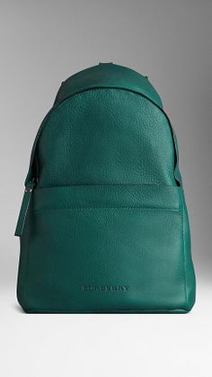 Grainy Leather Backpack | Burberry Green might be my color for Spring.