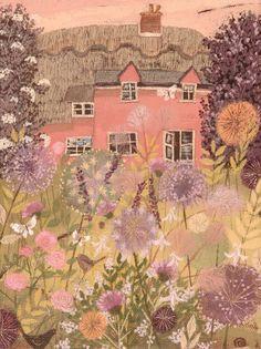 Pink cottage art illustration