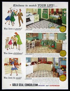 vintage linoleum 1940s |  linoleum patterns and a kitchen