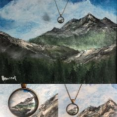 New Pendants New Sizes I designed these from my Landscape and Seascape paintings. Mountains, Palm trees, Sunrises, Sunsets and my shop is now shipping worldwide!!