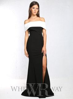 Eva Gown. A stunning full length monochrome gown by Giselle & Sophia. A classic off shoulder dress, crafted with a thick fitted crepe fabric for a flattering fit.