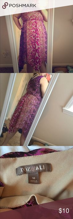 Purple and tan ankle length dress In good condition. Has a slight tear at neck shown in pictures but not very noticeable. Sheer overlay with a nude slip sewn under. Pet free and smoke free home. Roz&Ali Dresses