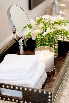 40 Beautiful Bathroom Vanity Tray Decor Ideas Your tray is nearly finished. If it comes to locating the correct size tray there are lots of choices. Both kept neat, organized trays in addition to their furniture where they lined up… Continue Reading → Bad Inspiration, Bathroom Inspiration, Bathroom Ideas, Bathroom Organization, Bathroom Designs, Shower Ideas, Bathroom Storage, Restroom Ideas, Bathroom Closet