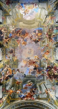 Andrea Pozzo - The Apotheose of St. Painted ceiling i. Andrea Pozzo – The Apotheose of St. Painted ceiling in the Church of S Art Inspo, Kunst Inspo, Inspiration Art, Ceiling Painting, Ceiling Art, Aesthetic Painting, Aesthetic Art, Rennaissance Art, Art Et Architecture