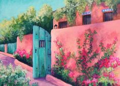 """Bougainvillea Wall Greeting Card for Sale by Candy Mayer. Our premium-stock greeting cards are 5"""" x 7"""" in size and can be personalized with a custom message on the inside of the card. All cards are available for worldwide shipping and include a money-back guarantee. Candy Paint, Wall Candy, Spanish Islands, Architecture Today, Mexican Home Decor, Southwestern Art, Religious Icons, Bougainvillea, Portrait Art"""