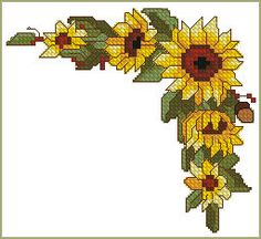 Sunflower Corner machine embroidery design in cross stitch technique