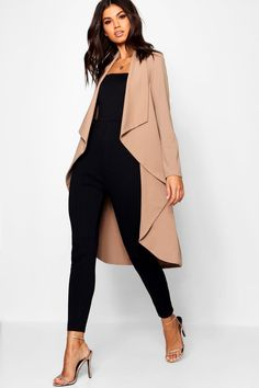 Waterfall Duster Coat at Boohoo Waterfall Jacket, Style Désinvolte Chic, Coatdress, Cool Outfits, Fashion Outfits, Fashion Coat, Business Casual Outfits, At Least, Classy Outfits