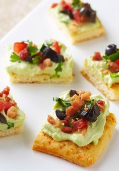Festive Fiesta Bites – Made with chopped olives, guacamole and bacon bits, these Festive Fiesta Bites ensure there's something with big flavor on the appetizer table.