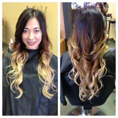 Dramatic black to blonde ombre. Hair by Linda Bang