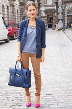 Step up your off-duty look in a blue blazer and brown chinos. Dress up this look with deep pink leather pumps.  Shop this look for $222:  http://lookastic.com/women/looks/necklace-short-sleeve-sweater-blazer-watch-tote-bag-chinos-pumps/7044  — Gold Necklace  — Grey Short Sleeve Sweater  — Blue Blazer  — Gold Watch  — Blue Leather Tote Bag  — Brown Chinos  — Hot Pink Leather Pumps