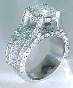 large+diamond+engagement+rings | Breathtaking 3.68 carat Round Brilliant Diamond Engagement Bridge Ring