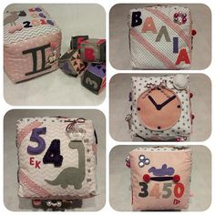 Handmade personalized fabric pillow block cube of yours baby